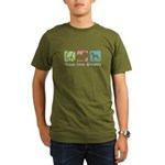 Peace, Love, Airedales Organic Men's T-Shirt (dark