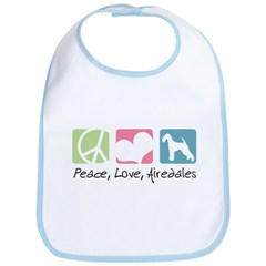 Peace, Love, Airedales Bib