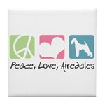 Peace, Love, Airedales Tile Coaster