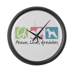 Peace, Love, Airedales Large Wall Clock