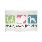 Peace, Love, Airedales Rectangle Magnet (100 pack)