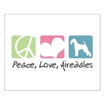 Peace, Love, Airedales Small Poster