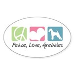 Peace, Love, Airedales Sticker (Oval 10 pk)