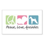 Peace, Love, Airedales Sticker (Rectangle 50 pk)