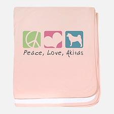 Peace, Love, Akitas baby blanket