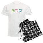 Peace, Love, Akitas Men's Light Pajamas