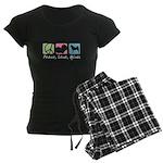 Peace, Love, Akitas Women's Dark Pajamas