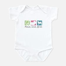 Peace, Love, Akitas Infant Bodysuit