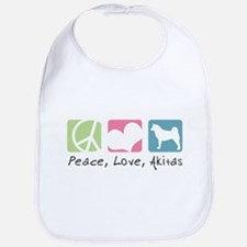 Peace, Love, Akitas Bib