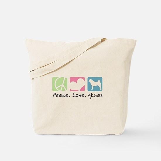 Peace, Love, Akitas Tote Bag