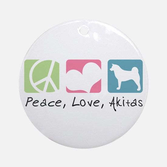 Peace, Love, Akitas Ornament (Round)