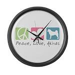 Peace, Love, Akitas Large Wall Clock