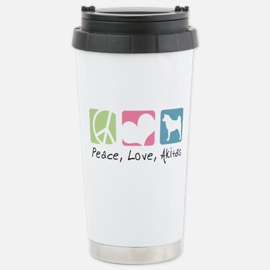 Peace, Love, Akitas Stainless Steel Travel Mug