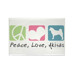 Peace, Love, Akitas Rectangle Magnet (10 pack)