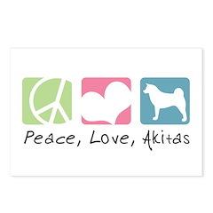 Peace, Love, Akitas Postcards (Package of 8)
