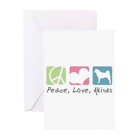 Peace, Love, Akitas Greeting Card