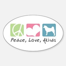Peace, Love, Akitas Sticker (Oval)