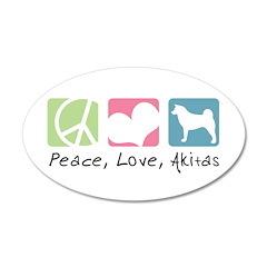 Peace, Love, Akitas 38.5 x 24.5 Oval Wall Peel