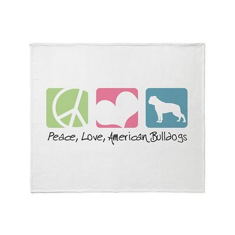 Peace, Love, American Bulldogs Throw Blanket