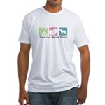 Peace, Love, American Bulldogs Fitted T-Shirt