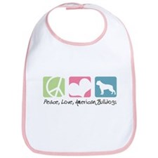 Peace, Love, American Bulldogs Bib