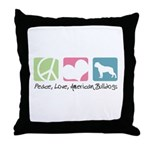 Peace, Love, American Bulldogs Throw Pillow