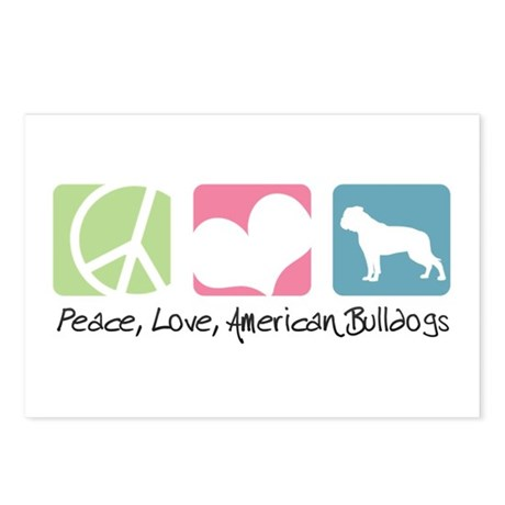 Peace, Love, American Bulldogs Postcards (Package