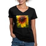 Black Eyed Susan Women's V-Neck Dark T-Shirt