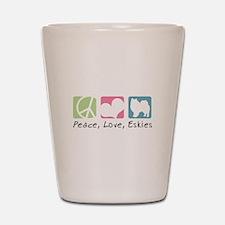 Peace, Love, Eskies Shot Glass