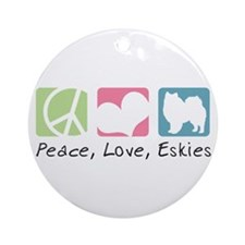 Peace, Love, Eskies Ornament (Round)