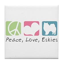 Peace, Love, Eskies Tile Coaster