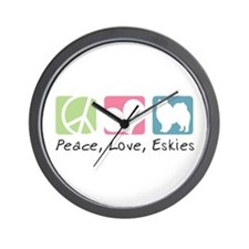 Peace, Love, Eskies Wall Clock