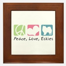 Peace, Love, Eskies Framed Tile
