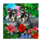 SCHNAUZER DOGS Tropical Sunset Tile Coaster