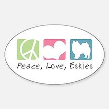 Peace, Love, Eskies Sticker (Oval)