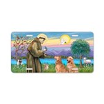 St Francis - 2 Goldens Aluminum License Plate