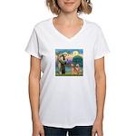 St Francis - 2 Goldens Women's V-Neck T-Shirt