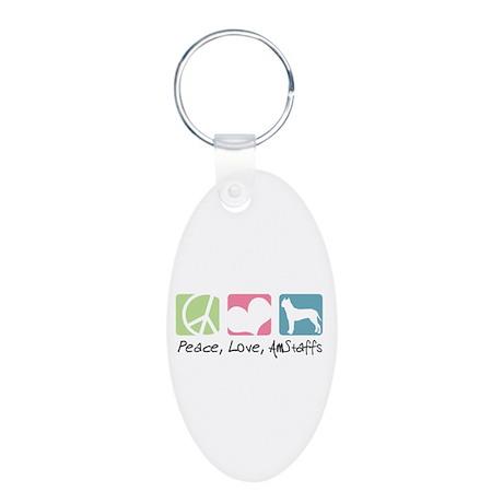 Peace, Love, AmStaffs Aluminum Oval Keychain