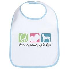 Peace, Love, AmStaffs Bib