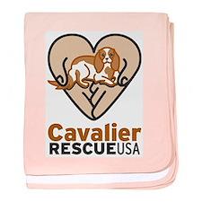 Cavalier Rescue USA Logo baby blanket