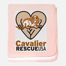 Cavalier Rescue USA Logo baby blanket