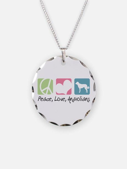 Peace, Love, Anatolians Necklace Circle Charm