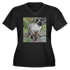 Siamese Cat Women's Plus Size V-Neck Dark T-Shirt