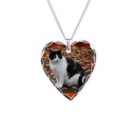 Tuxedo Kitty Necklace Heart Charm