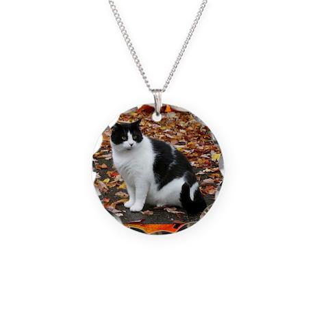 Tuxedo Kitty Necklace Circle Charm
