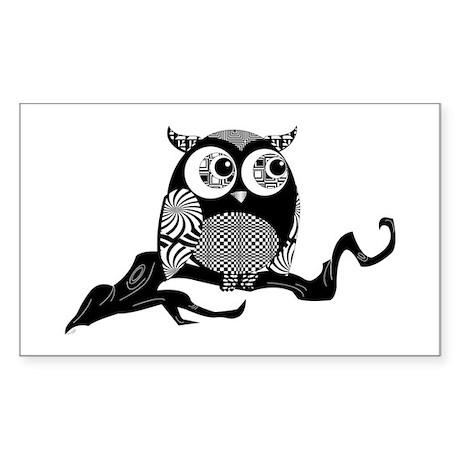 Cute Graphic Owl Sticker (Rectangle)