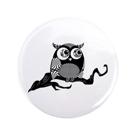"Cute Graphic Owl 3.5"" Button"