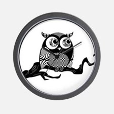 Cute Graphic Owl Wall Clock