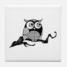 Cute Graphic Owl Tile Coaster