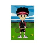 Cute Tennis Boy on Court Magnet